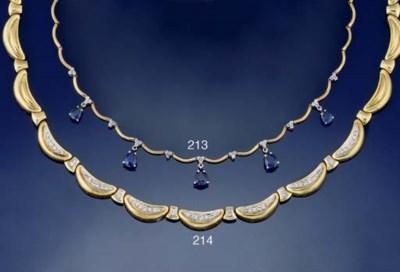 A SAPPHIRE AND DIAMOND NECKALC
