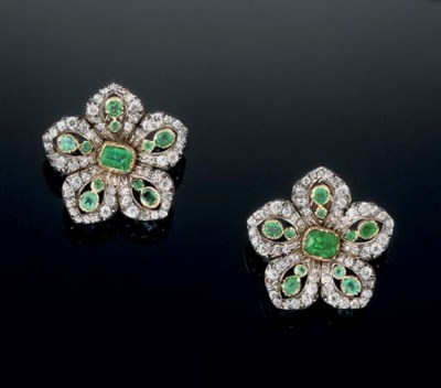 A pair of 19th century emerald