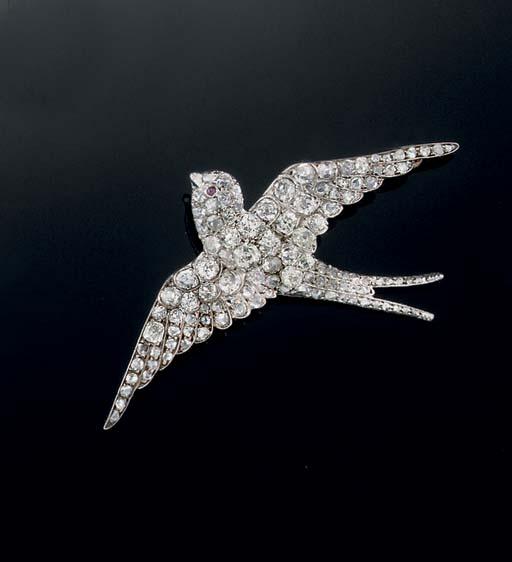 A Victorian diamond swallow br