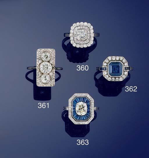 A diamond panel ring