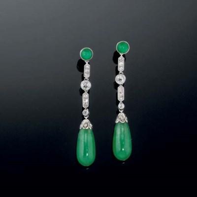 A pair of jade and diamond ear