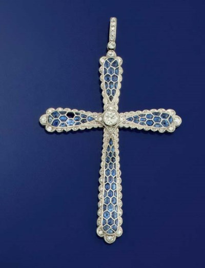 A diamond and sapphire cross p