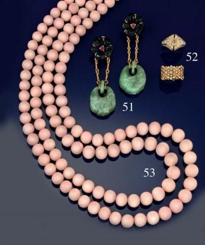 A pair of gem-set ear pendants