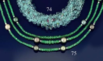 A CULTURED PEARL AND EMERALD N