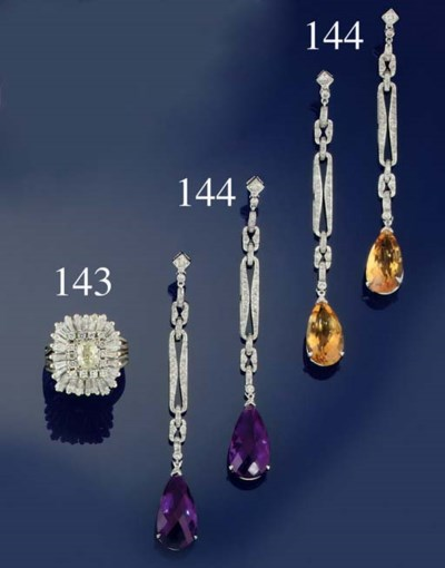 Two pairs of diamond and gem s