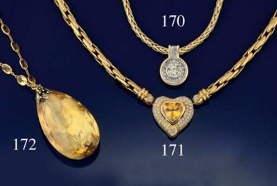 A citrine pendant necklace