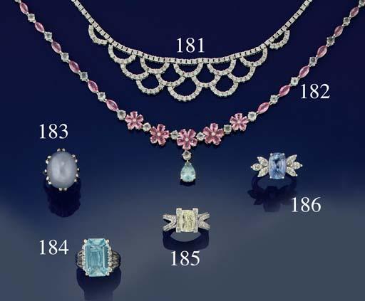 A pink sapphire, aquamarine and diamond necklace