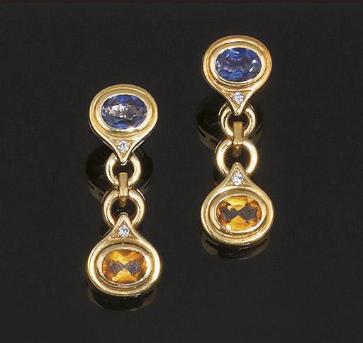 A pair of gemset earpendants