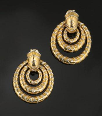 A pair of hoop earpendants, by