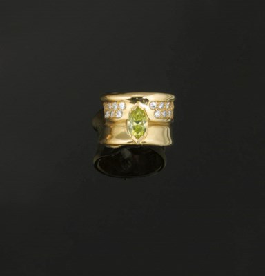 A diamond and treated coloured