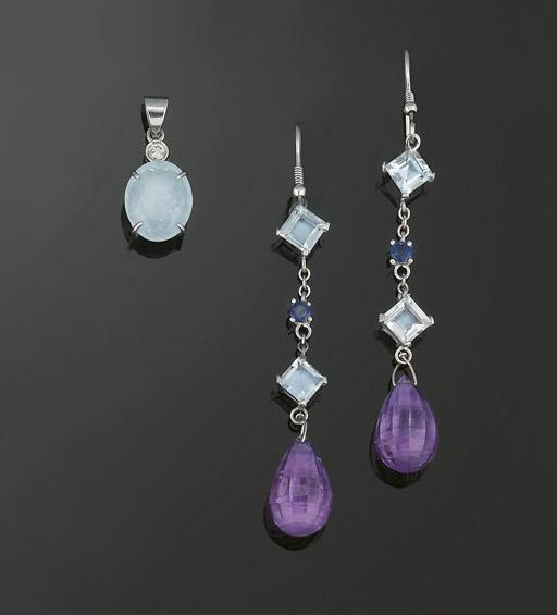 A pair of amethyst, aquamarine