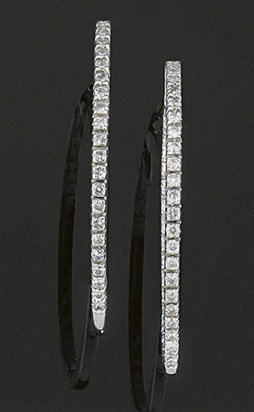 A pair of diamond hoop earring