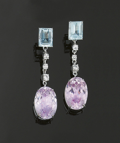 A PAIR OF AQUAMARINE, KUNZITE