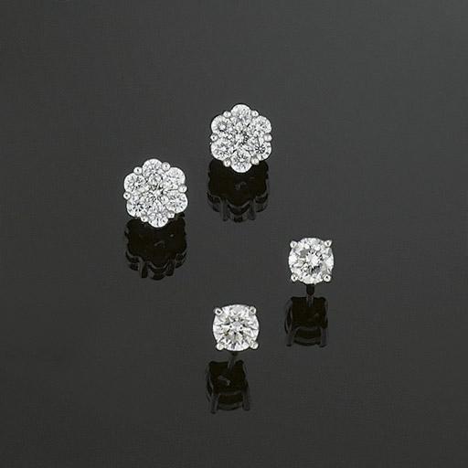 Two pairs of diamond earstuds