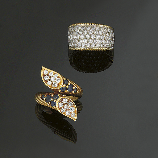 A sapphire and diamond ring an