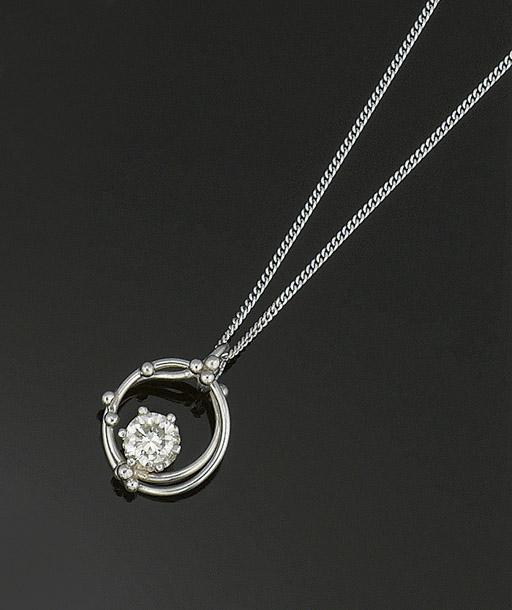 A platinum and diamond pendant