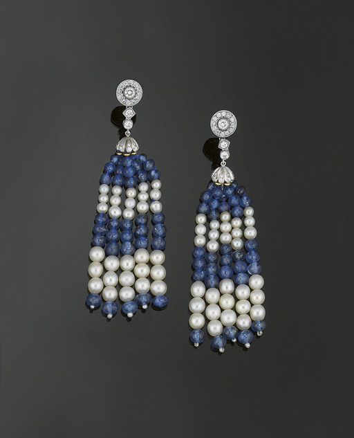 A pair of sapphire, cultured p