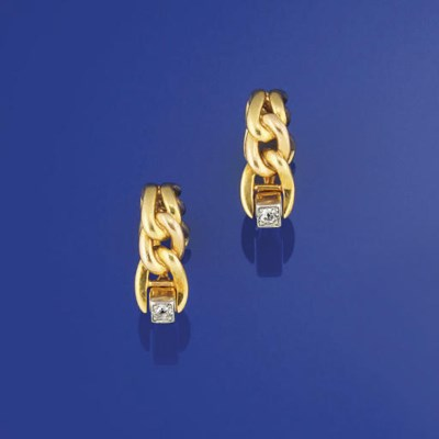 A pair of diamond set cufflink