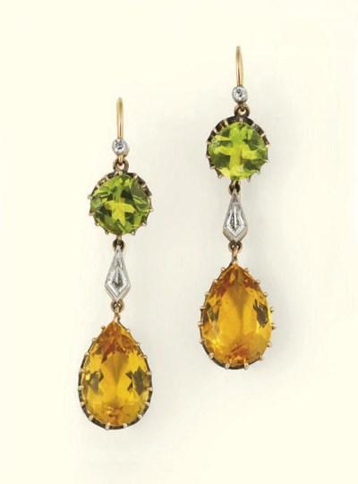 A pair of diamond, yellow bery