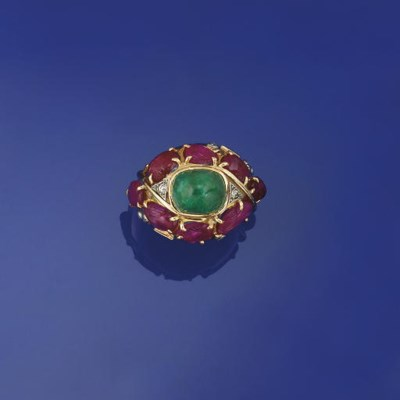 A ruby and emerald ring