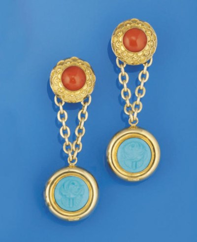A pair of coral and turquoise