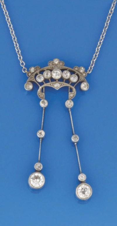 A diamond lavalier necklace