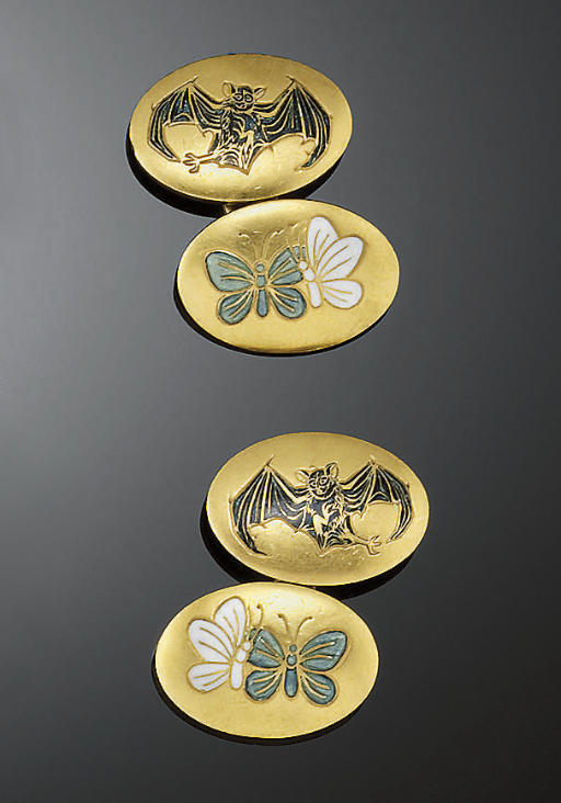 A pair of late 19th century gold and enamel cufflinks