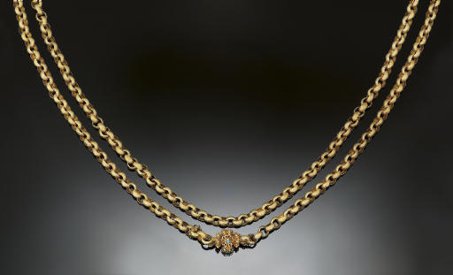 A 19th century gold long chain