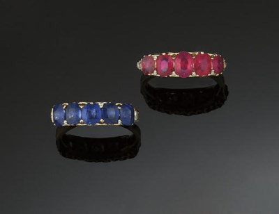 A LATE 19TH CENTURY RUBY FIVE