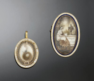 A GEORGE III MOURNING BROOCH A
