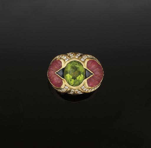 A peridot, tourmaline, sapphir