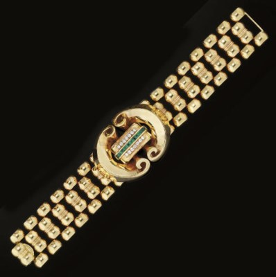 A gold, emerald and diamond br