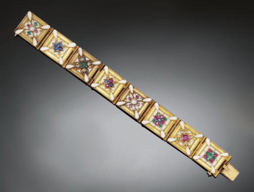 A LATE 19TH CENTURY ARCHAEOLOGICAL REVIVAL GOLD, GEM AND ENAMEL BRACELET, BY CARLO GIULIANO