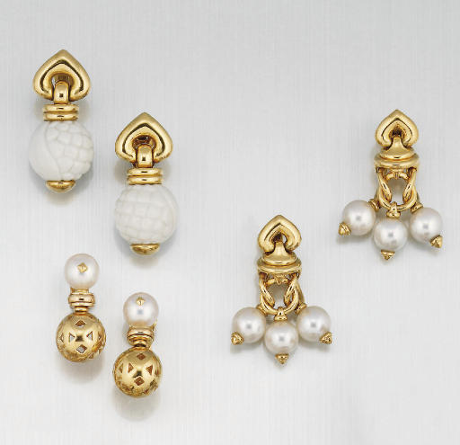 Three pairs of earrings by Bul