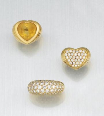 THREE DIAMOND AND GEM RINGS