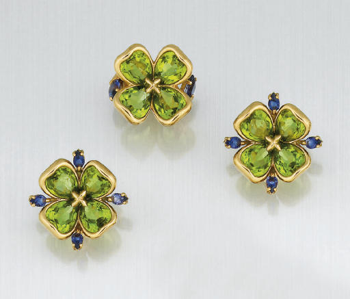 A pair of peridot and tanzanit