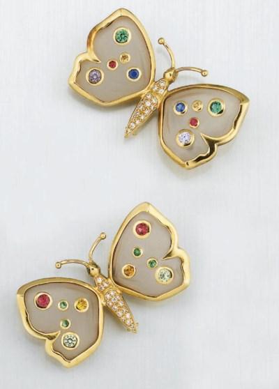 A pair of diamond and gem butt