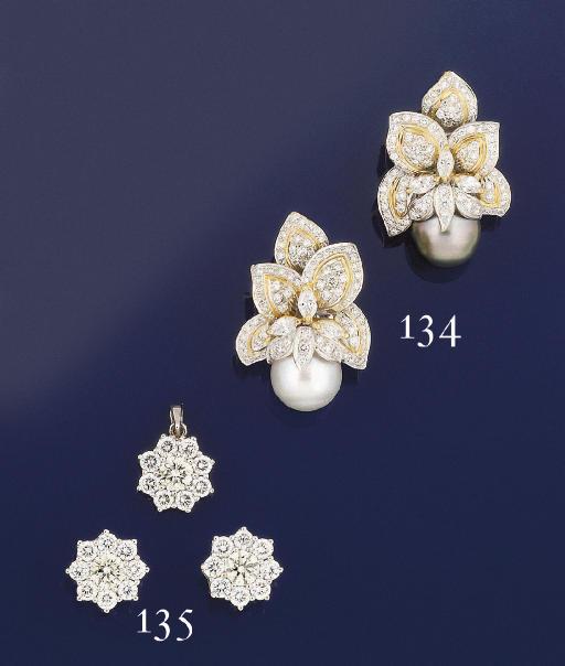 A pair of diamond cluster ears