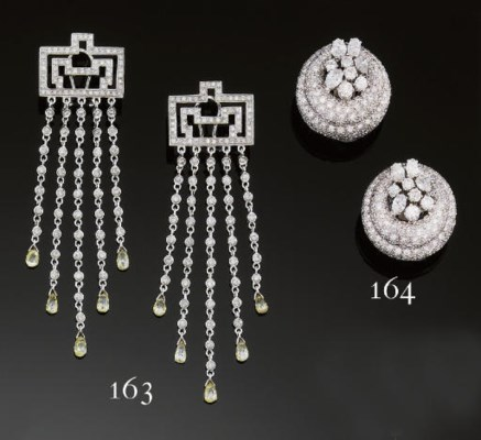 A pair of diamond tassel earpe
