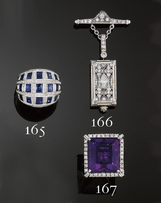 An Art Deco diamond and enamel
