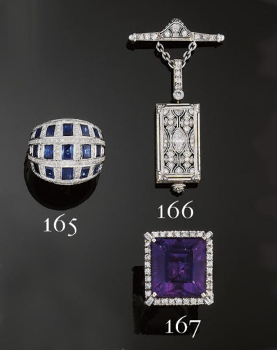 An Art Deco diamond and enamel