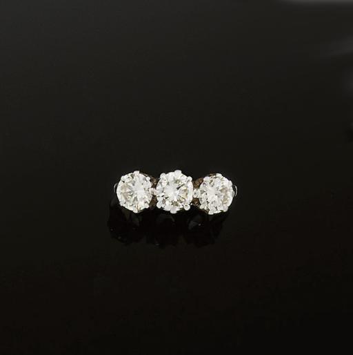A diamond three stone ring