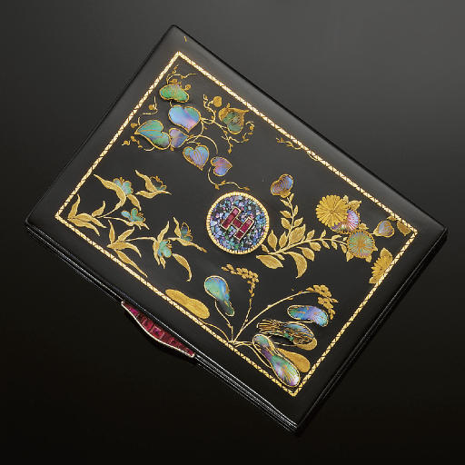 An Art Deco, silver gilt, lacquer, enamel, mother-of-pearl and ruby cigarette case, by Cartier