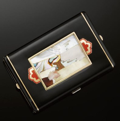 A French Art Deco, enamel and