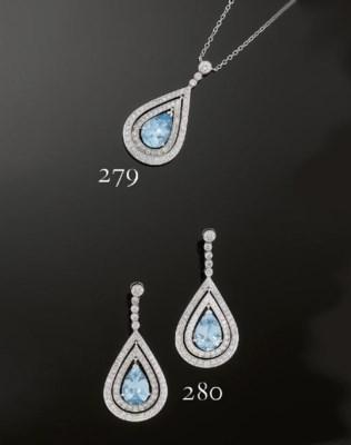 An aquamarine and diamond pend