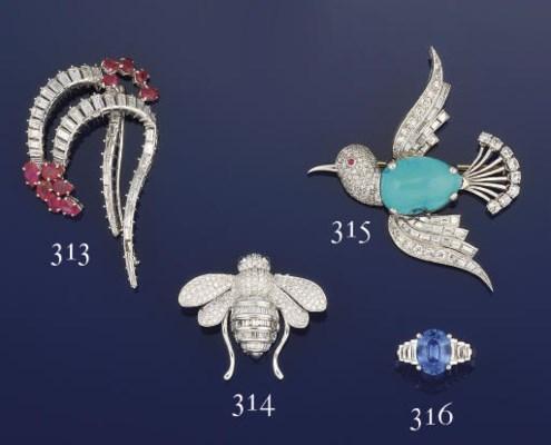 A diamond bee brooch