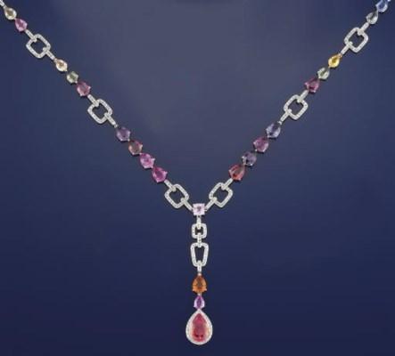 A vari-coloured sapphire neckl