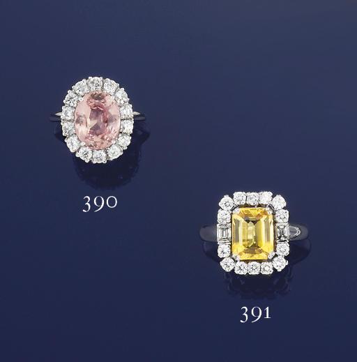 A COLOURED SAPPHIRE AND DIAMON