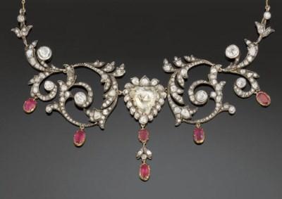 An Antique Diamond And Ruby Ne