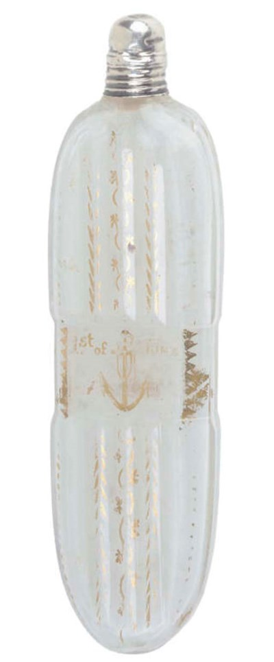 A GLASS SCENT BOTTLE COMMEMORA